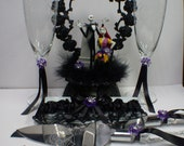 Nightmare before Christmas Wedding Lot Cake Topper, Glasses, Knife, Server, Garter Jack Sally Halloween