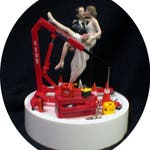 Engine Car AUTO MECHANIC tools Wedding Cake Topper Bride & Groom top tire FUNNY Racing Time to go