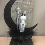 Jack & Sally Nightmare before Christmas Wedding Cake topper DISNEY Halloween funny groom top black base, White dress