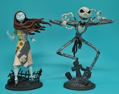 Nightmare before Christmas Jack Sally Disney Wedding Centerpiece Cup Cake top or Glasses, Knife set or Guest book funny top