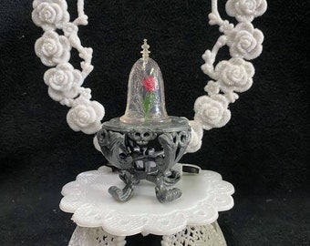 Beauty and the Beast,  Belle Theme Birthday Wedding emgagement, cake topper top. Enchanted Rose Disney