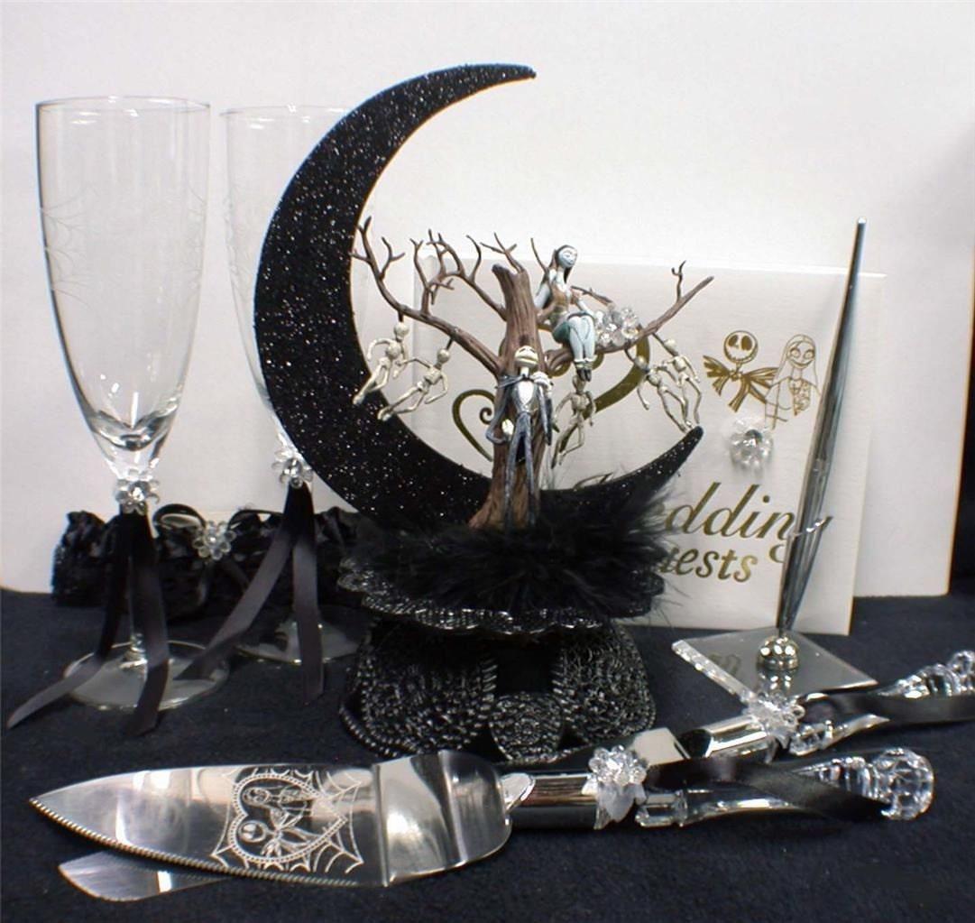 Nightmare before Christmas Wedding Cake topper Lot Glasses | Etsy