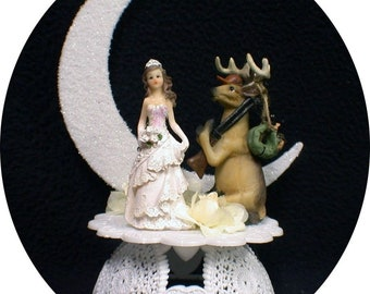"Hunters "" marriage season"" Deer hunting  Wedding Cake topper OR Knife Server Glasses Guest Book Garter LOT  Country Western"