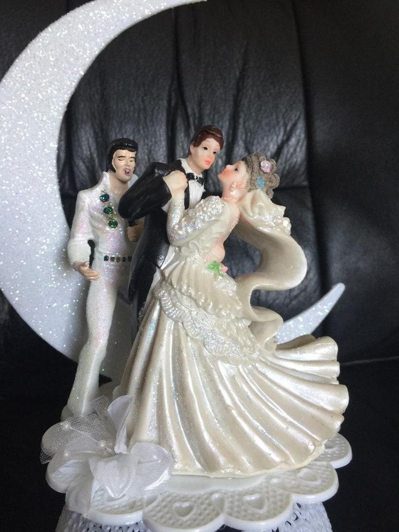 Elvis Presley King Las Vegas Wedding cake topper Top black suit Dancing Romantic