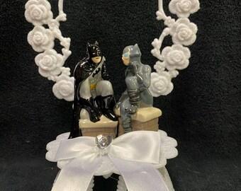 SEXY Batman & Catwomen Gray D.C. Comic Wedding Cake Topper Super Hero groom top OR glasses knife set OR book