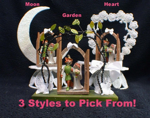 3 styles disney robin hood & maid marian wedding cake topper. etsy