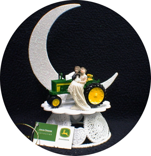 Country Western John DEERE Tractor Wedding Cake Topper Farmer