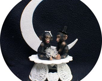 Your My Cutie. Moon Chimp Wedding Cake topper Groom top Zoo Monkey Ape nature Funny. engagement party ornament decor