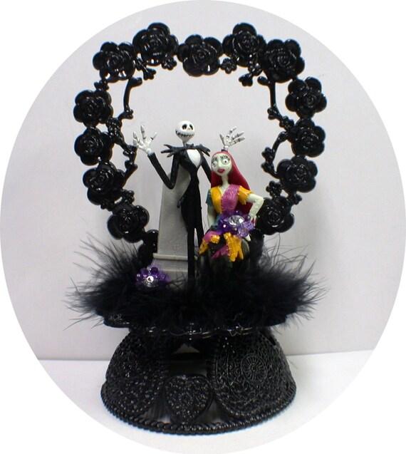 Nightmare Before Christmas Wedding Cake topper Sally Jack Disney Halloween Tree