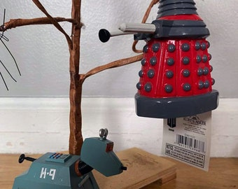 """2 Doctor Who Christmas Ornaments Dalek and Rusty 3.5"""" Shatterproof figure"""