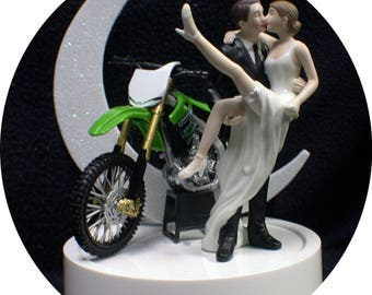 Kawasaki Dirt bike SEXY Wedding Cake Topper with Green Motorcycle Bike Off road dirt racing Funny Groom Top