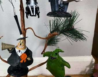 4 piece LOT Nightmare Before Christmas Holiday Christmas Tree Ornament Set LOT Disney Shock, Oogie Boogie, Mayor and the Doctor