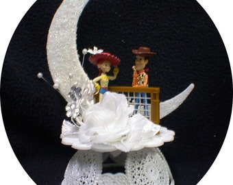 Toy Story Jessie and Woody  Country Western Wedding Cake Topper Farmer Barn Groom top