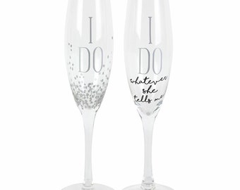 Our Name is Mud I Do Glittered Wedding Champagne Flute Set 8 Ounce Names can be added on back