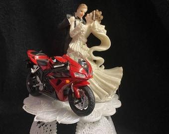 Wedding Cake topper w/ Sexy Red CRB Honda Motorcycle Blond or burnette bride racing Bike crotch rocket groom top
