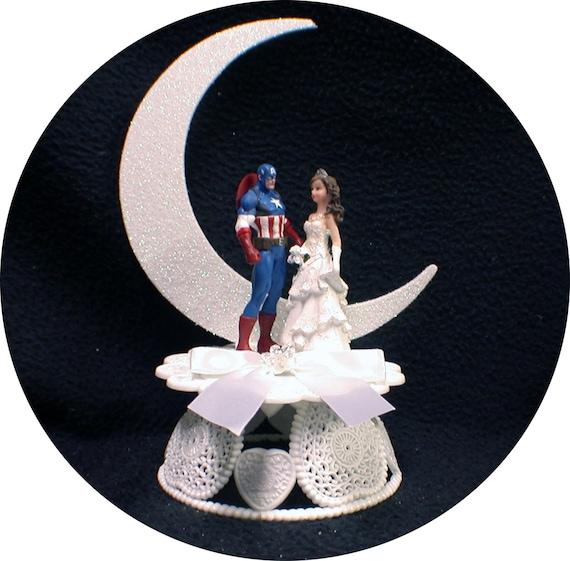 Captain America Braut Hochzeitstorte Topper Top Super Hero Etsy