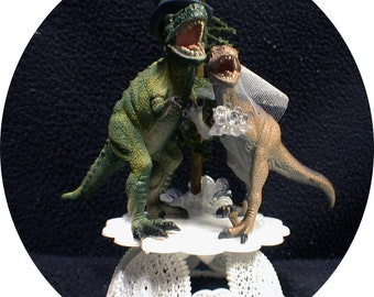 Dinosaur Cake Topper Wedding Decoration Funny Cake Topper Jurassic Park Wedding  T-Rex Groom top Caveman Centerpiece