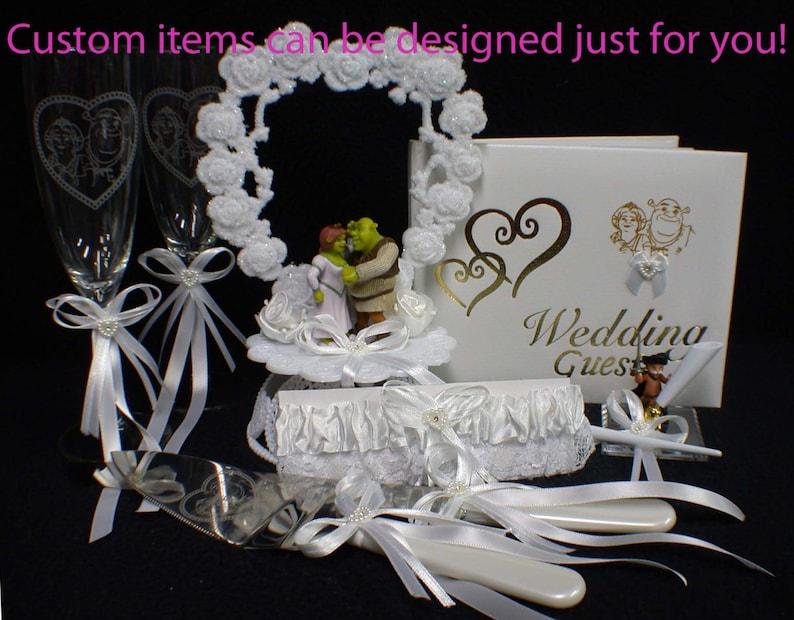 SHREK & FIONA Wedding Collectiom Cake Topper Glasses Knife image 0