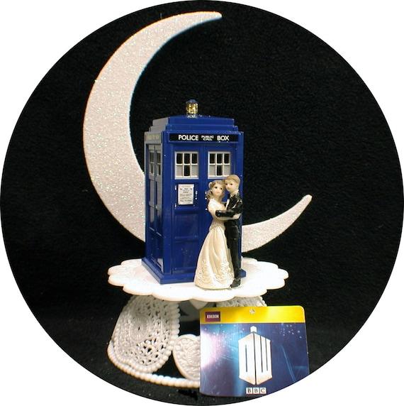 African-American Bride /& Groom Wedding Cake Topper w// DR WHO Doctor TARDIS black