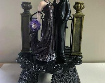 Garden Gate SEXY Black Wedding Cake topper Halloween Gothic