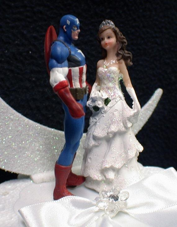 Captain America Super héros Organza Mariée Jarretière de mariage.