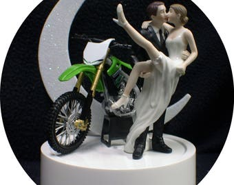 Green Kawasaki SEXY Wedding Cake Topper with Motorcycle Bike Off road dirt racing Funny Groom top