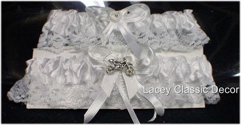 Dirt bike Motorcycle Theme Wedding 2 Bridal garters. One Keep image 0
