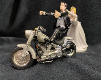 Motorcycle Wedding Cake Topper W/ Sexy Silver Bike Harley Davidson Funny Groom Top Blond or Brown Hair Bride