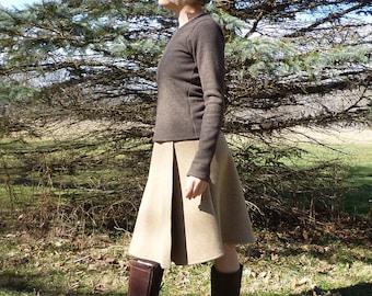 Organic Clothing Merino Wool Faux Wrap Skirt Winter Knee Length New Zealand Merino Sweater Skirt Eco Conscious Clothing Winter Skirt Warm