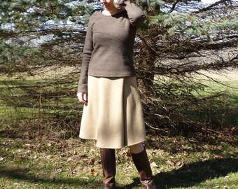 42167141bb Merino Wool Faux Wrap Skirt