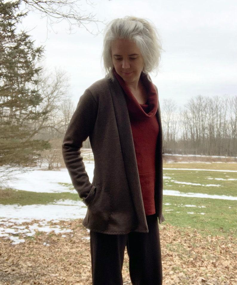Heavy Weight Merino Wool Shawl Cardigan Sweater with Pockets image 0