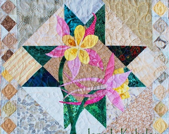 Quilt Pattern - Columbine Applique Art Quilt Pattern - Immediate Download PDF