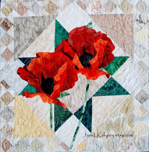 Quilt Pattern Poppies Applique Art Quilt Pattern Etsy