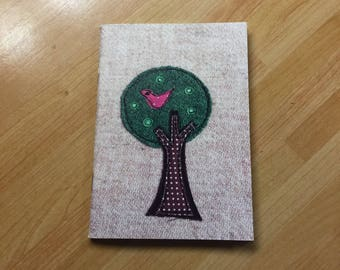 Bird in a tree Notebook, A6 notebook, mini notebook, pocket notebook, plain pages, sketchbook
