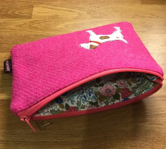 Jack Russell lover dog zip pouch makeup case dog zipped case orange herringbone Harris Tweed Jack Russell case makeup bag dog lover