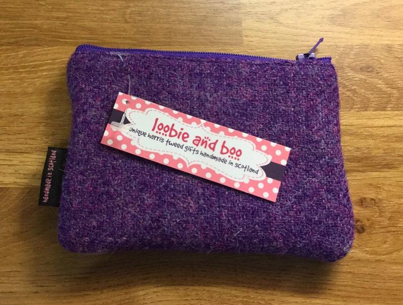 little purse change purse scottish gift small purse Purple Harris Tweed coin purse friend gift secret santa gift zipped coin pouch