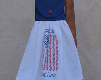 6d9ab846dd60 Decorative Hanging Kitchen Towel with Patriotic USA Flag   Red White and  Blue Decor
