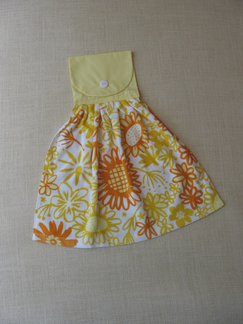 Yellow and Orange Floral Kitchen Towel / Bright Yellow Kitchen Decor /  Summer Flowers / Hanging Dish Towel / Cloth Top with Button