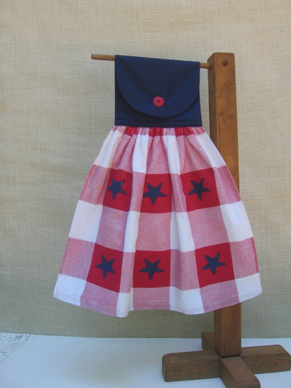f6f2e211246f Patriotic Red White Blue Hanging Kitchen Dish Towel   Red and