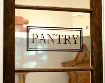 Pantry Vinyl Decal - Pantry Door Decal Glass Door Decal Vinyl Lettering Rectangle Border Fame Decal Traditional Decor