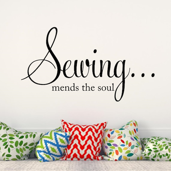 Sewing mends the soul Vinyl Wall Decal Sewing Room decor | Etsy