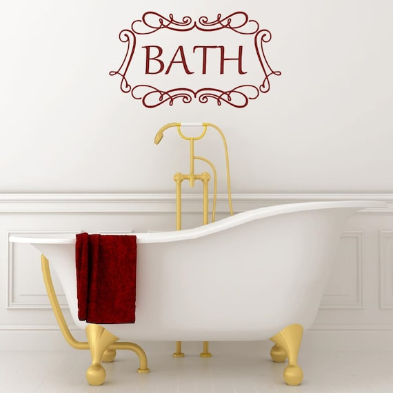 BATHROOM  BATH WORDS VINYL DECAL WALL ART LETTERING DECOR SCROLL STICKER STICKY