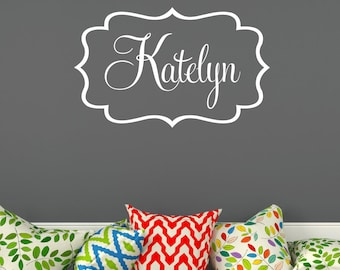 Personalized Name Wall Monogram Decal Vinyl Wall Decal Fancy Frame Border Decal