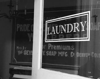 Laundry Vinyl Decal, Laundry Room Decal Glass Door, Vinyl Lettering Rectangle Border Traditional Decor