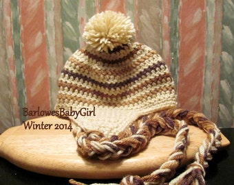 Buggs Crochet Striped Ear Flap Hat in Cream w/ Shades of Brown Stripes
