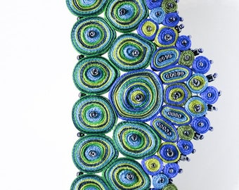 Extravagant necklace green, fabric necklace blue, statement necklace, unique necklaces for women, gift for woman - Textile jewelry