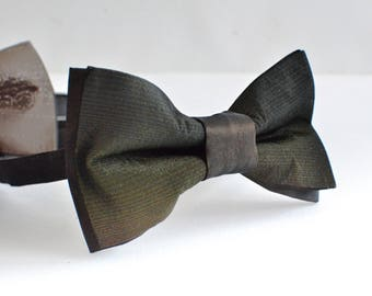 Hand painted bow tie green, prettied bowtie brown, Christmas gift for man, gift for him, gift for boyfriend - handmade men accessory