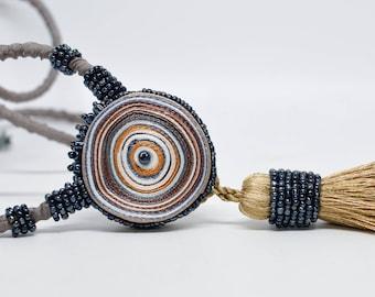 Extravagant tassel necklace beige, textile necklace, extra long fabric necklace, gift for her, art deco tassel belt golden, fiber jewelry