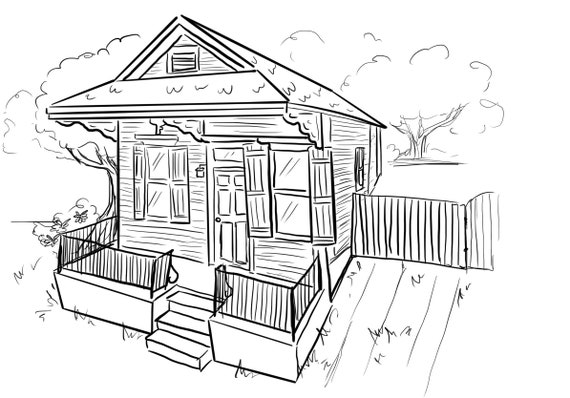 New Orleans House Download Printable Coloring Page Nola Etsy