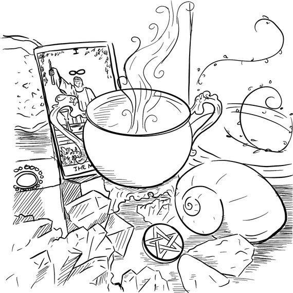 Magick Altar Download Printable Coloring Page Downloadable Etsy